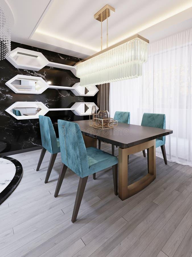 Σύγχρονη τραπεζαρία με να δειπνήσει deco τέχνης τον πίνακα Διακοσμητικός μαύρος μαρμάρινος τοίχος με τα άσπρους ράφια και τους κα διανυσματική απεικόνιση