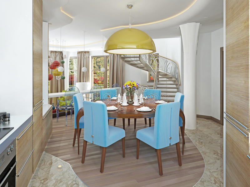 Σύγχρονη τραπεζαρία με την κουζίνα σε ένα καθιερώνον τη μόδα κιτς ύφους στοκ φωτογραφίες με δικαίωμα ελεύθερης χρήσης
