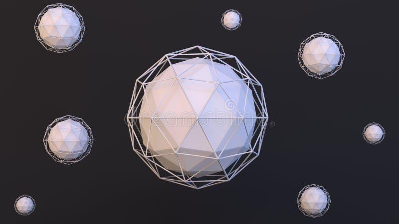Σύγχρονη τρισδιάστατη αφηρημένη εικόνα των σφαιρών ico με τα wireframes γύρω από τους διανυσματική απεικόνιση