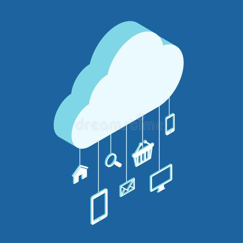 Σύγχρονη τρισδιάστατη επίπεδη φιλοξενία υπηρεσιών σύννεφων έννοιας σχεδίου isometric διανυσματική απεικόνιση