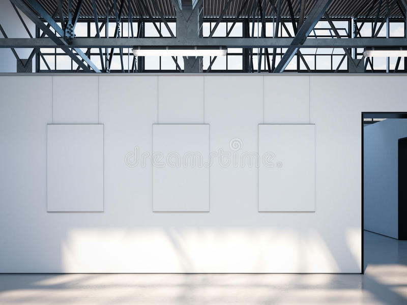 Σύγχρονη φωτεινή στοά με τις άσπρες αφίσες τρισδιάστατη απόδοση στοκ εικόνα με δικαίωμα ελεύθερης χρήσης