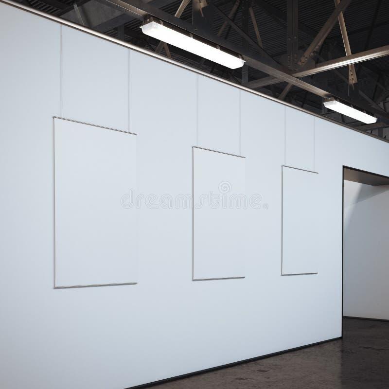 Σύγχρονη φωτεινή στοά με τρία άσπρα πλαίσια τρισδιάστατη απόδοση στοκ εικόνες με δικαίωμα ελεύθερης χρήσης
