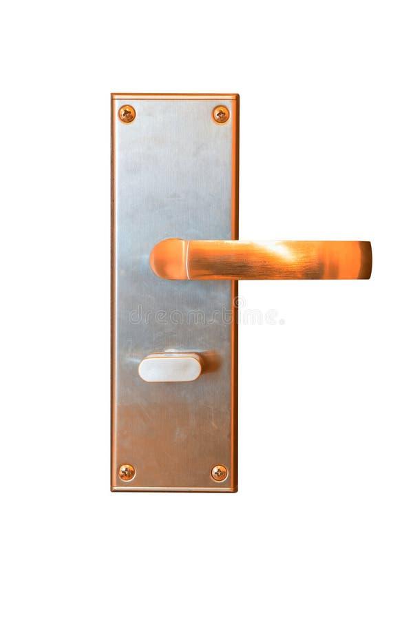 Σύγχρονη χρυσή λαβή πορτών με την κλειδαριά συστημάτων ασφαλείας που απομονώνεται στο wh στοκ εικόνες με δικαίωμα ελεύθερης χρήσης