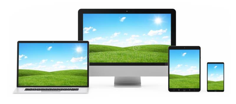 Σύγχρονη ψηφιακή ασημένια τρισδιάστατη απόδοση συσκευών τεχνολογίας διανυσματική απεικόνιση