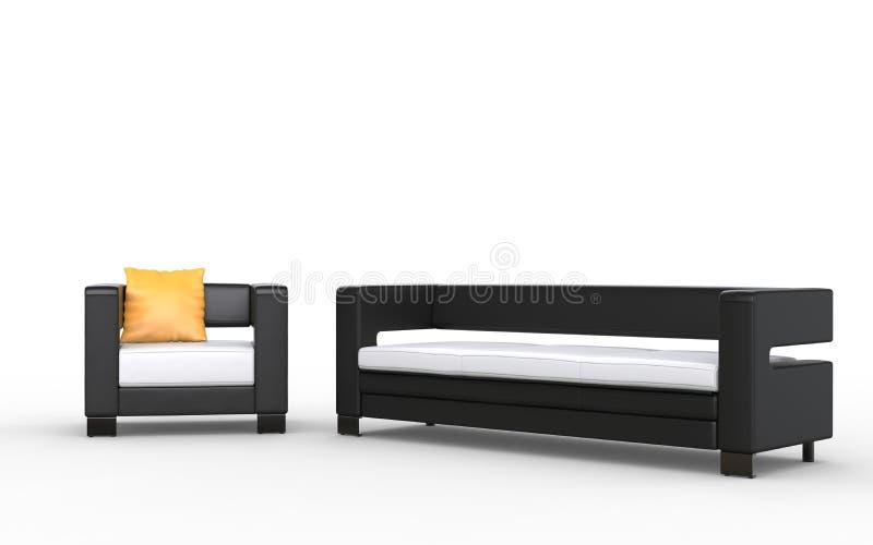 Σύγχρονοι γραπτοί καναπές και πολυθρόνα με το κίτρινο μαξιλάρι στοκ φωτογραφία με δικαίωμα ελεύθερης χρήσης
