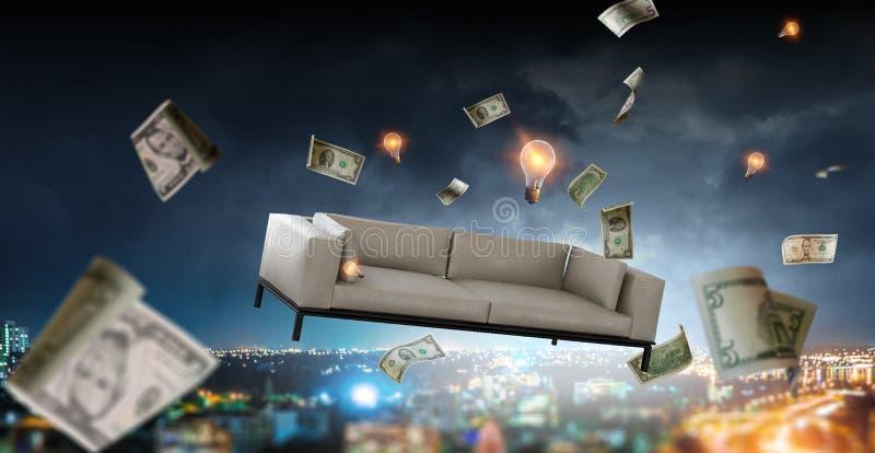 Σύγχρονος άσπρος καναπές που πετά πέρα από την πόλη νύχτας στοκ εικόνες με δικαίωμα ελεύθερης χρήσης