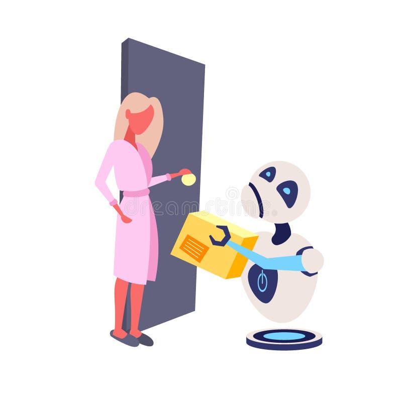 Σύγχρονος αγγελιαφόρος ρομπότ που δίνει στη γυναίκα δεμάτων χαρτονιού τη λαμβάνουσα ρομποτική σαφή υπηρεσία παράδοσης τεχνητή νοη απεικόνιση αποθεμάτων