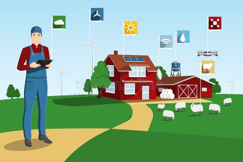 Σύγχρονος αγρότης σε ένα έξυπνο αγρόκτημα διανυσματική απεικόνιση