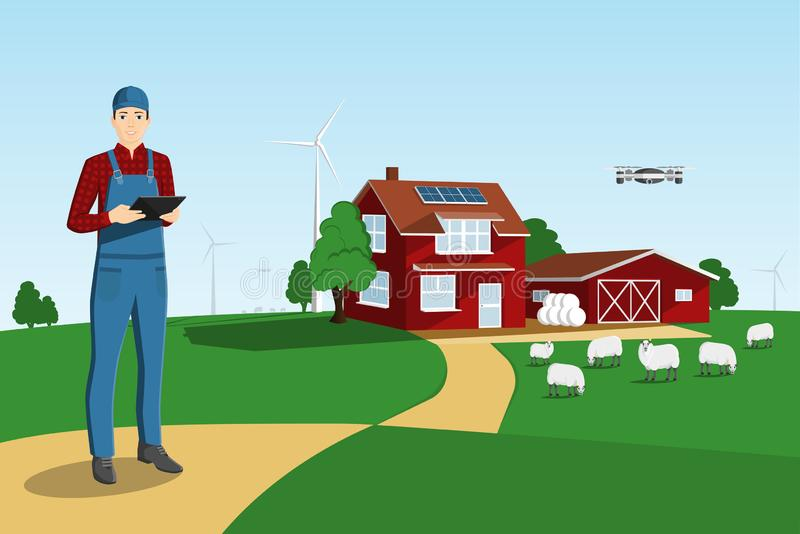 Σύγχρονος αγρότης σε ένα έξυπνο αγρόκτημα απεικόνιση αποθεμάτων