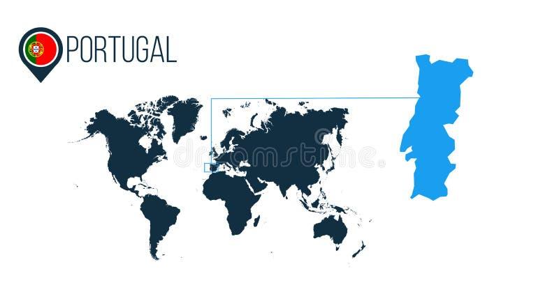 Σύγχρονος διανυσματικός χάρτης θέσης της Πορτογαλίας για το infographics Όλες οι παγκόσμιες χώρες χωρίς ονόματα Πορτογαλία γύρω α απεικόνιση αποθεμάτων