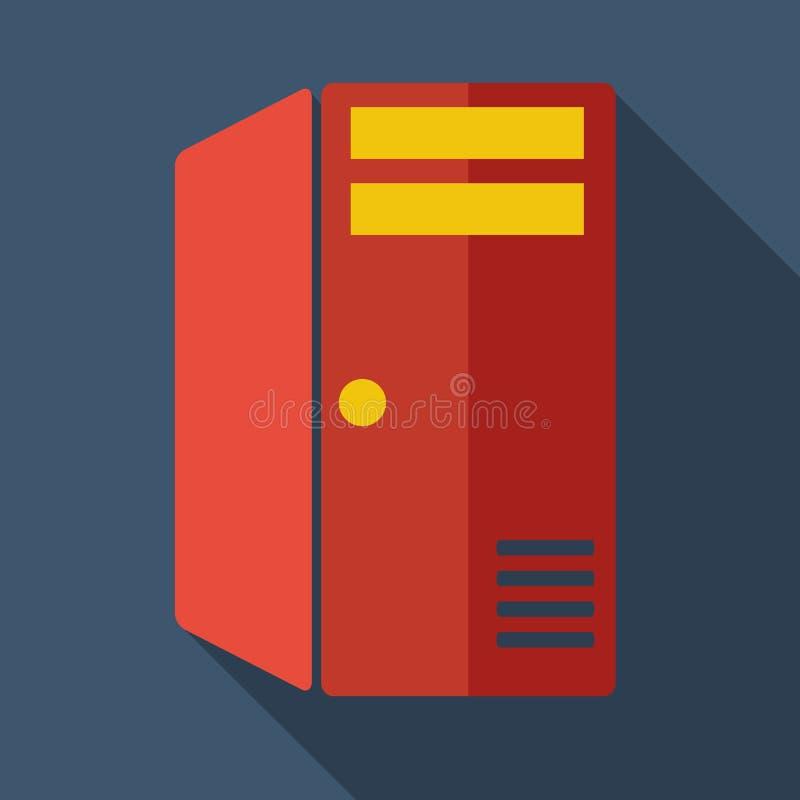 Σύγχρονος επίπεδος κεντρικός υπολογιστής υπολογιστών εικονιδίων έννοιας σχεδίου διανυσματική απεικόνιση