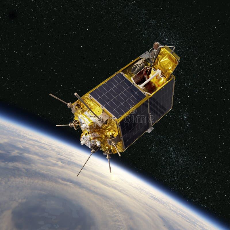 Σύγχρονος επιστημονικός και εκπαιδευτικός διαστημικός δορυφόρος στην τροχιά διανυσματική απεικόνιση