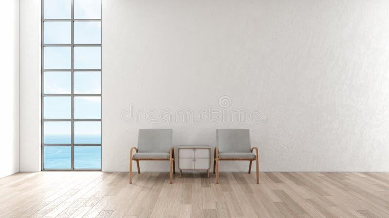 Σύγχρονος εσωτερικός άσπρος τοίχος πατωμάτων καθιστικών ξύλινος καρέκλα στη θερινή τρισδιάστατη απόδοση άποψης θάλασσας παραθύρων απεικόνιση αποθεμάτων