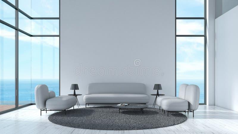 Σύγχρονος εσωτερικός καθιστικών ξύλινος τοίχος σύστασης πατωμάτων άσπρος με το γκρίζο θερινό πρότυπο άποψης θάλασσας παραθύρων κα ελεύθερη απεικόνιση δικαιώματος