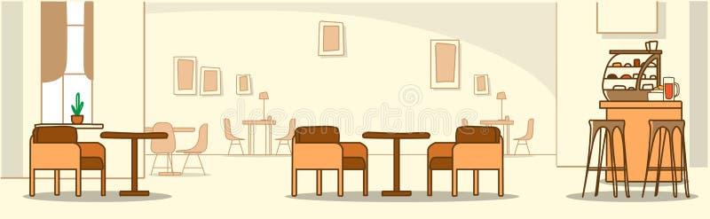 Σύγχρονος εσωτερικός κενός καφέδων καμία καφετέρια ανθρώπων με το οριζόντιο έμβλημα σκίτσων επίπλων doodle διανυσματική απεικόνιση