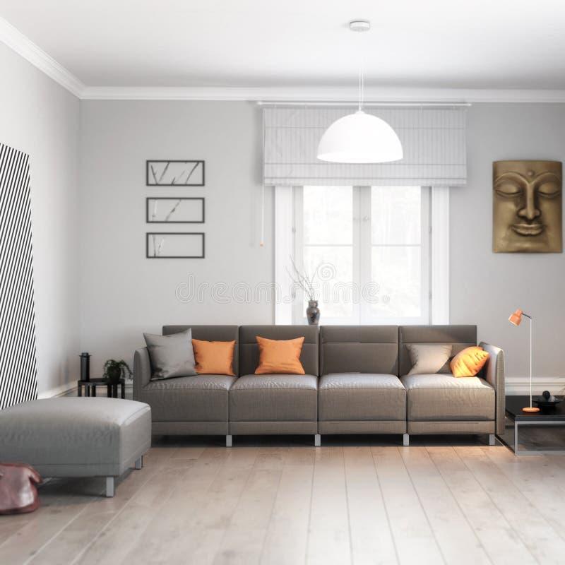Σύγχρονος καναπές που παρουσιάζεται σε μια λεπτομέρεια καθιστικών ελεύθερη απεικόνιση δικαιώματος