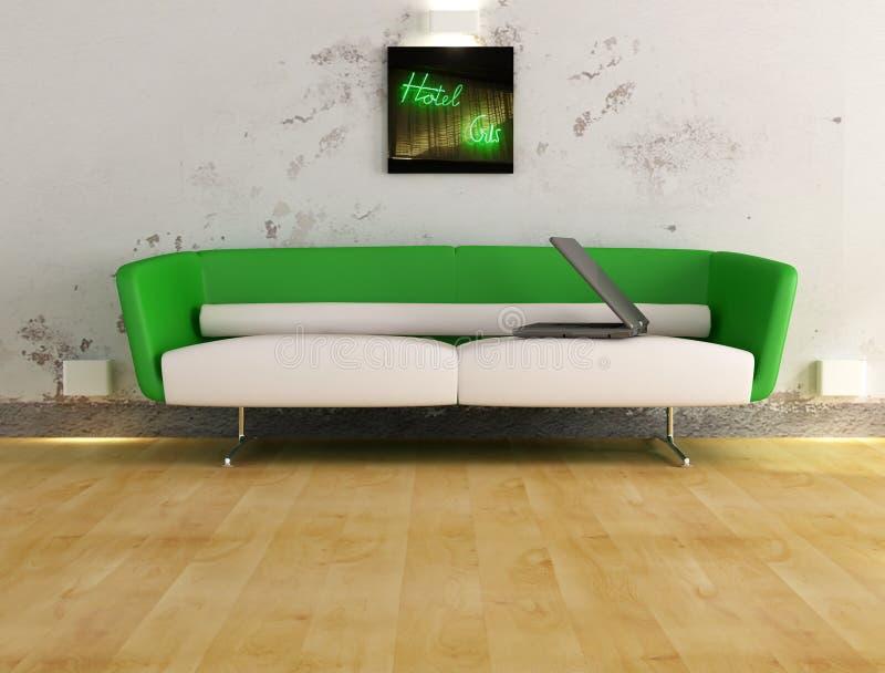 σύγχρονος καναπές lap-top στοκ εικόνες