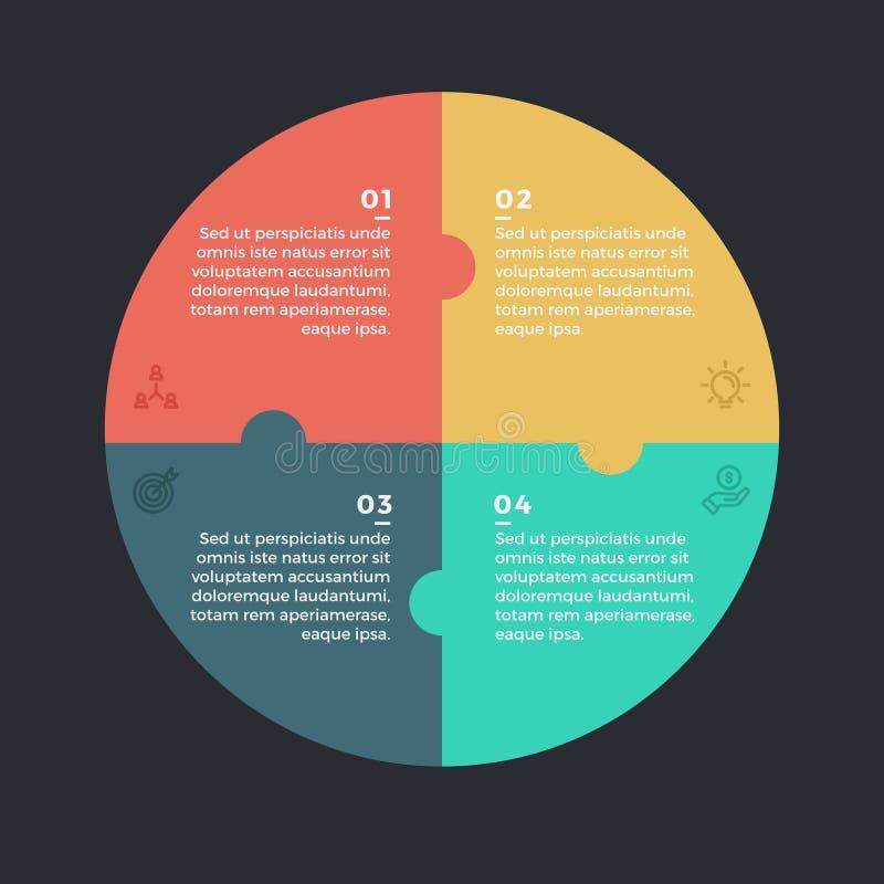 Σύγχρονος κύκλος Infographic με 4 στάδια βημάτων απεικόνιση αποθεμάτων