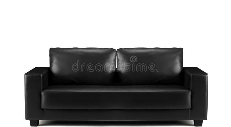 Σύγχρονος μαύρος καναπές δέρματος που απομονώνεται στοκ εικόνες