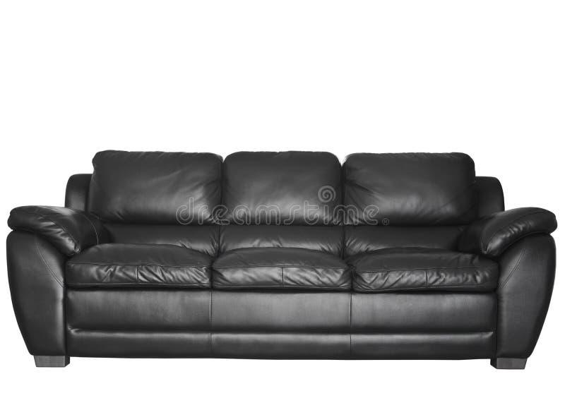 Σύγχρονος μαύρος καναπές δέρματος στοκ φωτογραφία με δικαίωμα ελεύθερης χρήσης