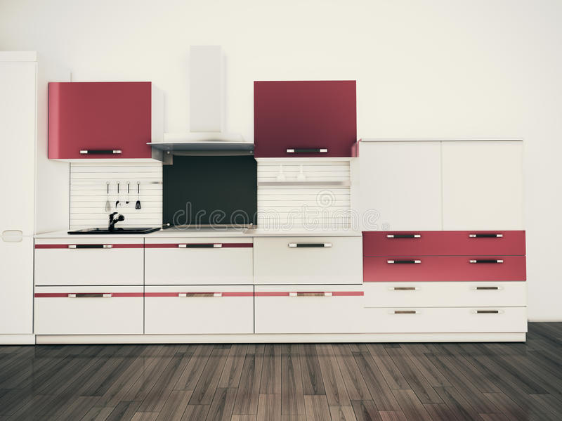σύγχρονος μοντέρνος κουζινών σχεδίου εσωτερικός εσωτερικός στοκ εικόνα