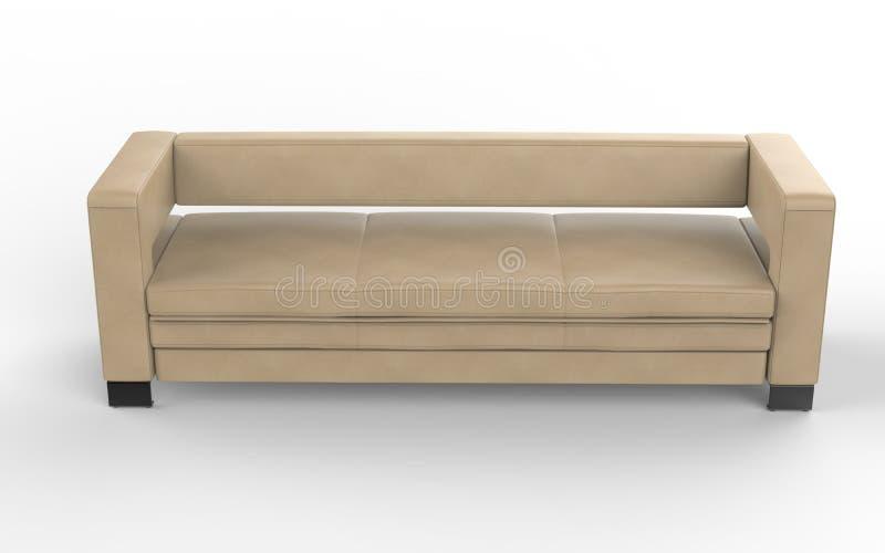 Σύγχρονος μπεζ καναπές δέρματος στοκ φωτογραφίες