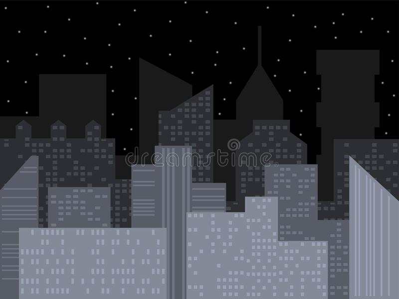 σύγχρονος ορίζοντας πόλεων Διανυσματική απεικόνιση πόλεων νύχτας Αστική διανυσματική εικονική παράσταση πόλης περιλήψεων Διανυσμα ελεύθερη απεικόνιση δικαιώματος