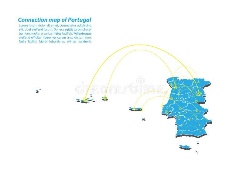 Σύγχρονος του σχεδίου δικτύων συνδέσεων χαρτών της Πορτογαλίας, καλύτερη έννοια Διαδικτύου της επιχείρησης χαρτών της Πορτογαλίας απεικόνιση αποθεμάτων