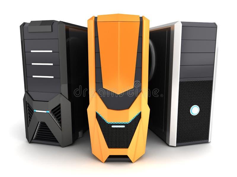 Σύγχρονος υπολογιστής τρία απεικόνιση αποθεμάτων