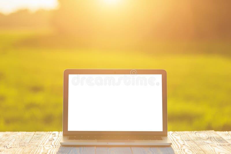 Σύγχρονος φορητός προσωπικός υπολογιστής στον ξύλινο πίνακα και την άποψη του πράσινου τομέα στοκ φωτογραφία