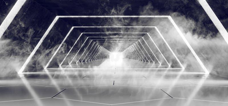 Σύγχρονος φουτουριστικός σκοτεινός κενός καπνός του Sci Fi και συγκεκριμένος κεραμωμένος αλλοδαπός διάδρομος σηράγγων ομίχλης με  διανυσματική απεικόνιση