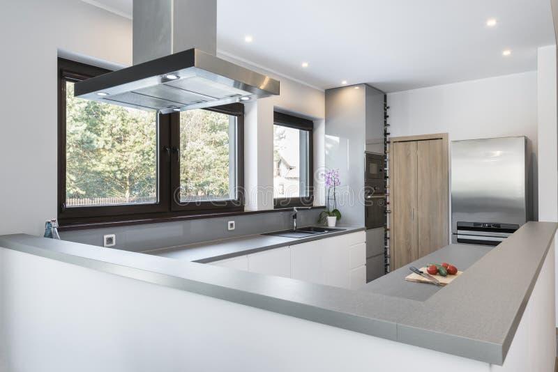 Σύγχρονος, φωτεινός, καθαρός, εσωτερικό σχέδιο κουζινών στοκ εικόνα