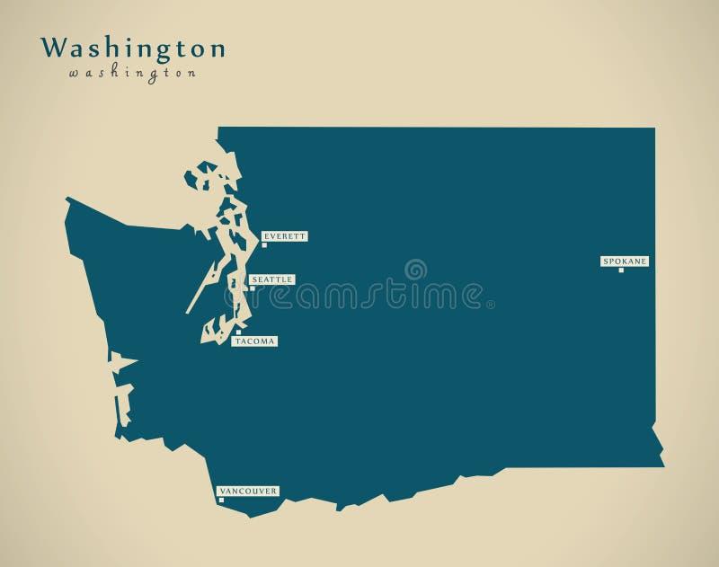 Σύγχρονος χάρτης - απεικόνιση της Ουάσιγκτον ΗΠΑ ελεύθερη απεικόνιση δικαιώματος