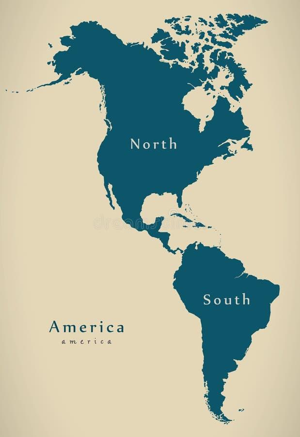 Σύγχρονος χάρτης - Βορράς και Νότος της Αμερικής απεικόνιση αποθεμάτων