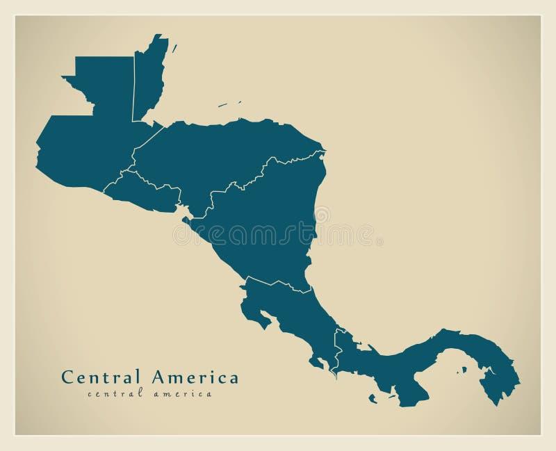 Σύγχρονος χάρτης - Κεντρική Αμερική με τα σύνορα χωρών ελεύθερη απεικόνιση δικαιώματος