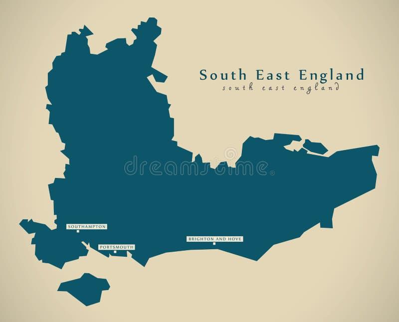 Σύγχρονος χάρτης - νοτιοανατολική Αγγλία UK διανυσματική απεικόνιση