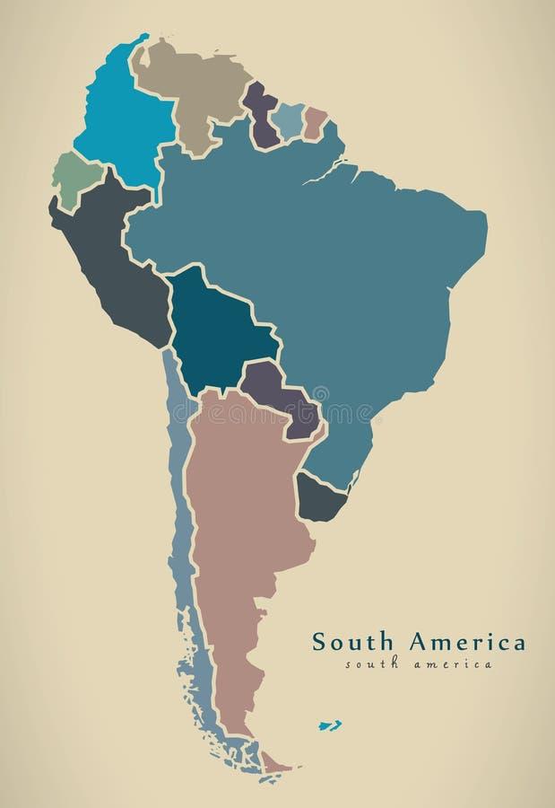 Σύγχρονος χάρτης - Νότια Αμερική με όλο πλήρη χωρών που χρωματίζεται ελεύθερη απεικόνιση δικαιώματος