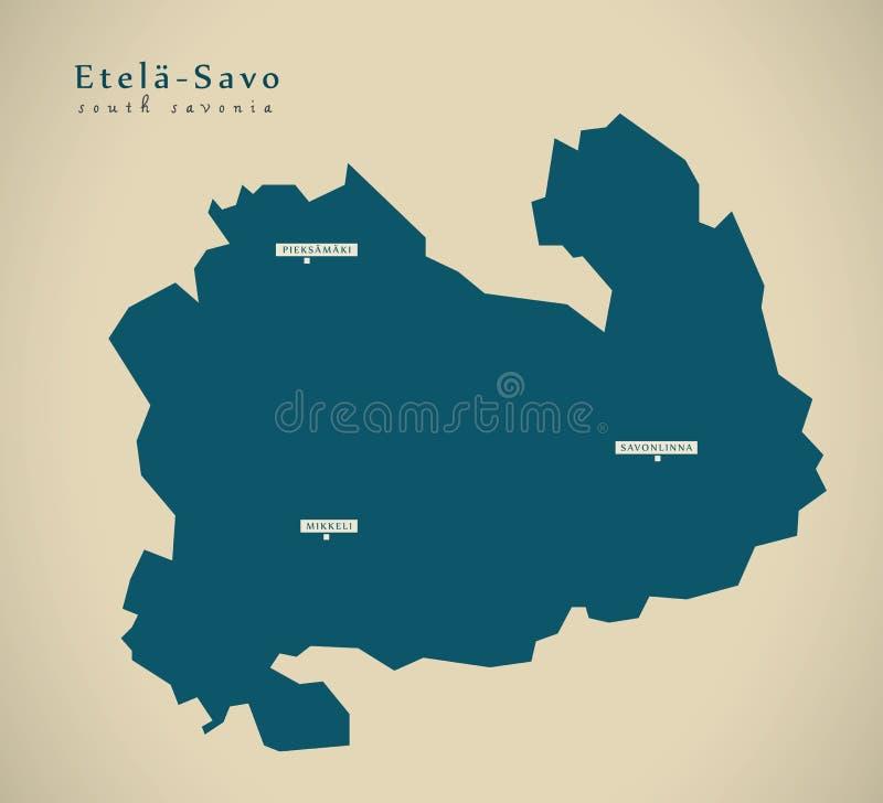 Σύγχρονος χάρτης - νότος Savonia Φινλανδία FI απεικόνιση αποθεμάτων