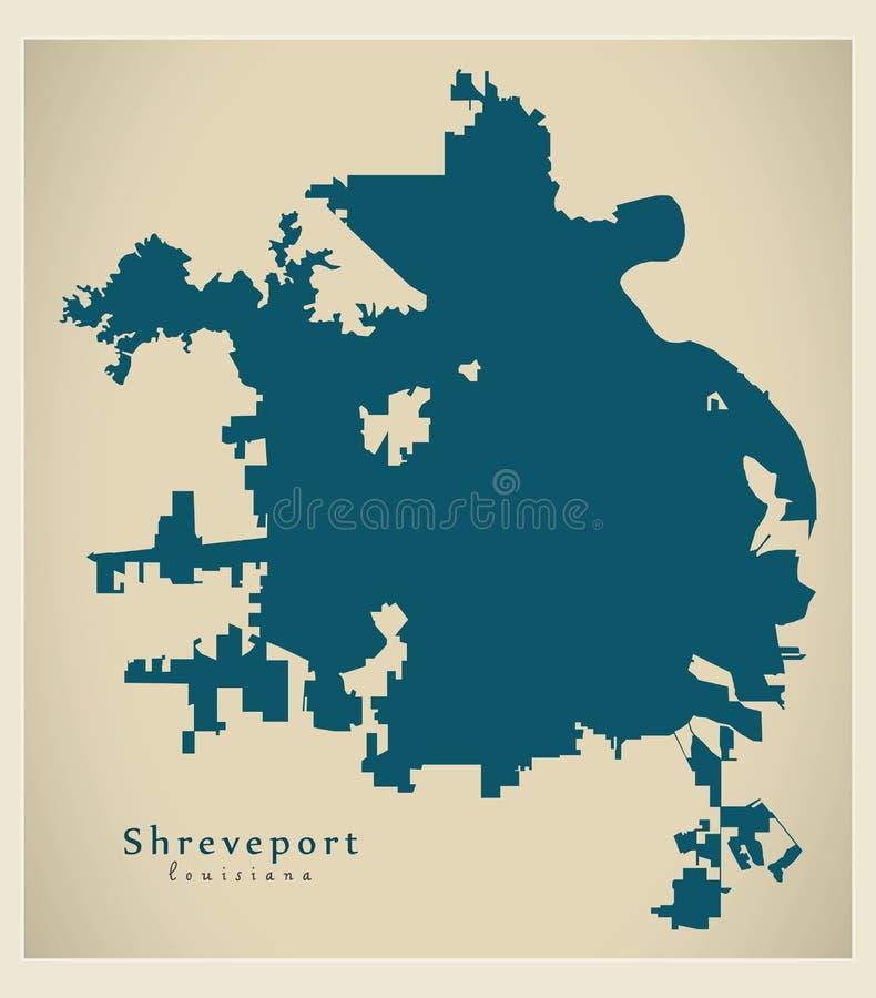 Σύγχρονος χάρτης πόλεων - πόλη του shreveport Λουιζιάνα των ΗΠΑ διανυσματική απεικόνιση