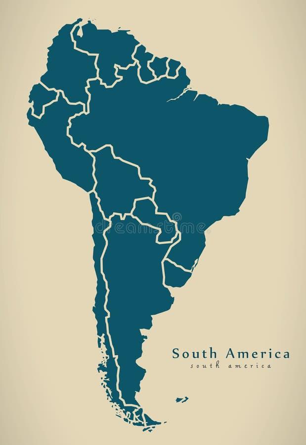 Σύγχρονος χάρτης - χάρτης της Νότιας Αμερικής με όλες τις χώρες πλήρεις ελεύθερη απεικόνιση δικαιώματος