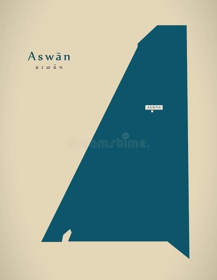 Σύγχρονος χάρτης - Aswan Π.Χ. ελεύθερη απεικόνιση δικαιώματος