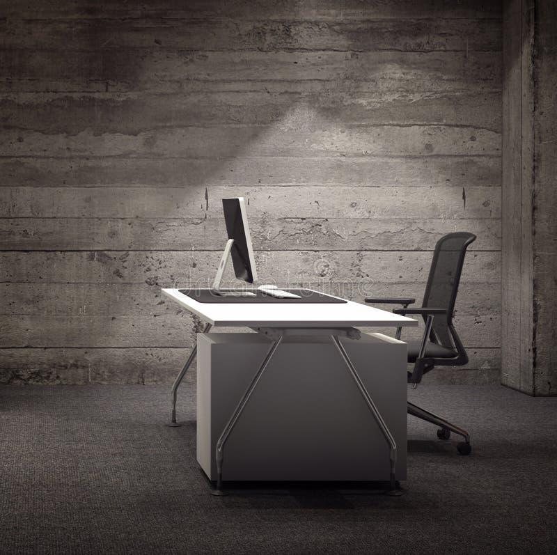 Σύγχρονος χώρος γραφείου με τον αγροτικό ξύλινο τοίχο διανυσματική απεικόνιση