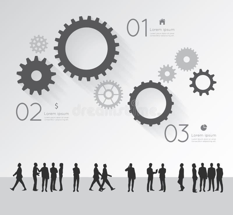 Σύγχρονος infographic για το επιχειρησιακό πρόγραμμα με τους ανθρώπους σκιαγραφιών ελεύθερη απεικόνιση δικαιώματος