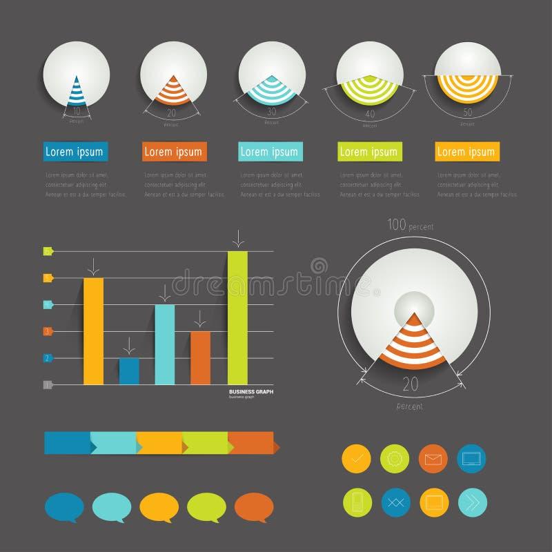 Σύγχρονος infographic φάκελλος Minimalistic με τα διαγράμματα πιτών, τα βέλη, τις λεκτικές φυσαλίδες και τα εικονίδια. Επίπεδος. ελεύθερη απεικόνιση δικαιώματος