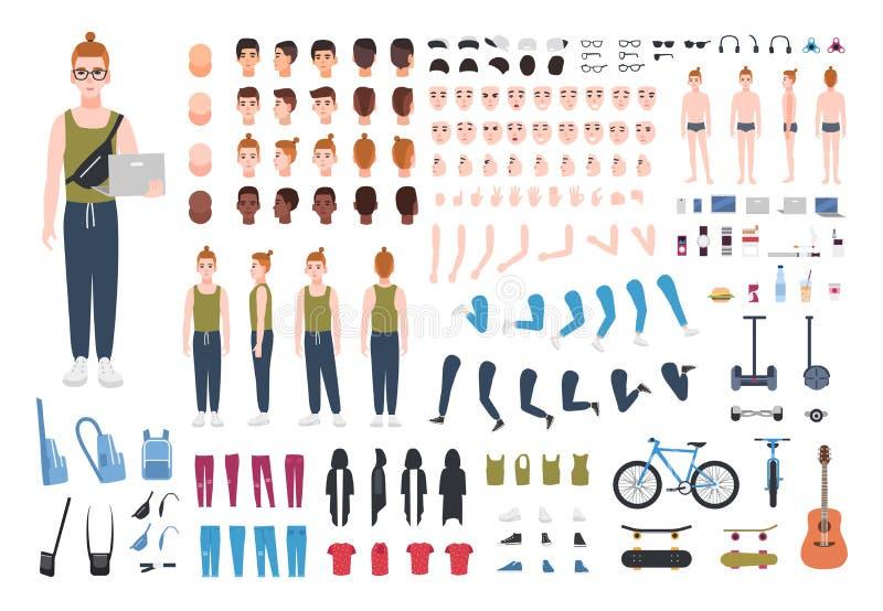 Σύγχρονος redhead κατασκευαστής εφήβων ή εξάρτηση DIY Η συλλογή των μελών του σώματος εφήβων ` s, θέτει, εκφράσεις του προσώπου διανυσματική απεικόνιση