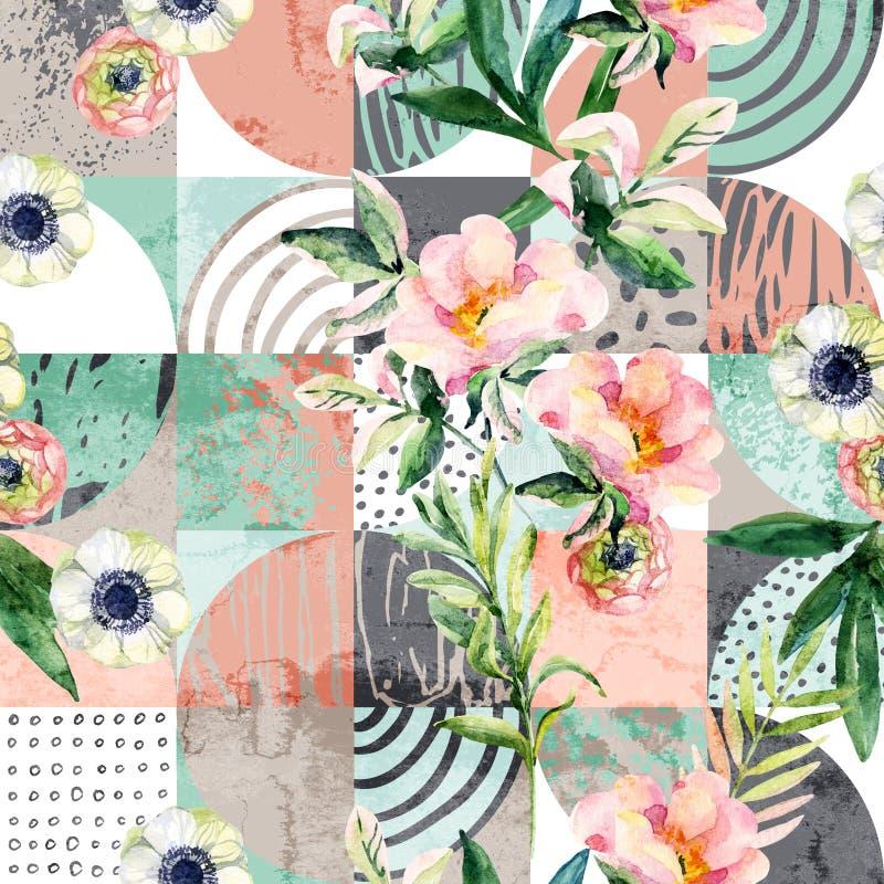 Σύγχρονο άνευ ραφής γεωμετρικό και floral σχέδιο απεικόνιση αποθεμάτων
