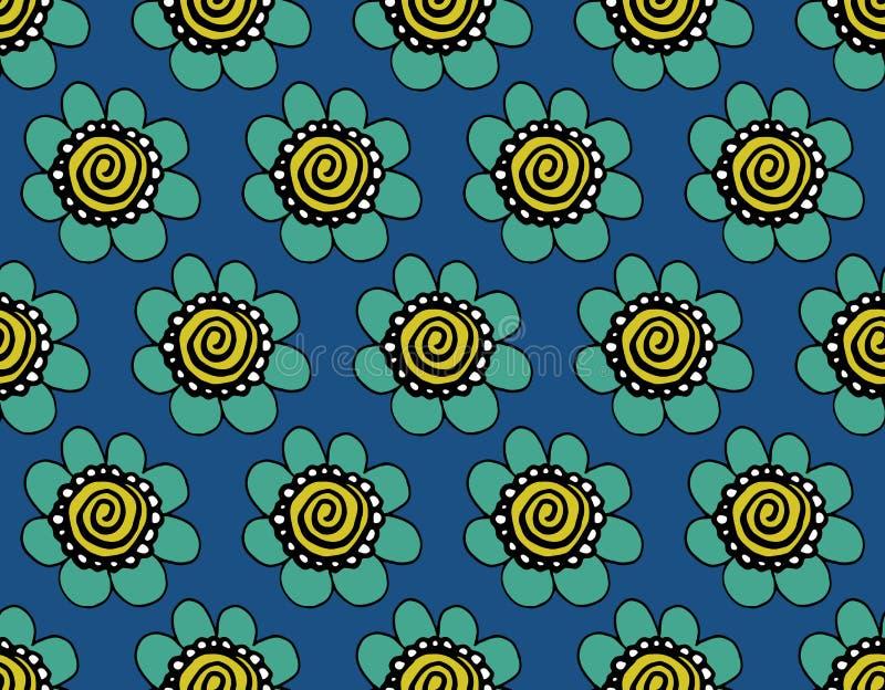 Σύγχρονο άνευ ραφής μπλε ινδικό σχέδιο με τα λουλούδια διανυσματική απεικόνιση