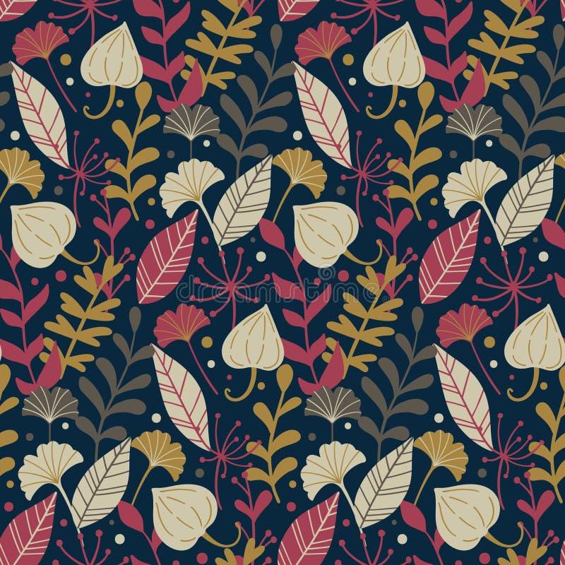 Σύγχρονο άνευ ραφής σχέδιο με συρμένα τα χέρι άγρια floral στοιχεία η κινηματογράφηση σε πρώτο πλάνο ανασκόπησης φθινοπώρου χρωμα διανυσματική απεικόνιση