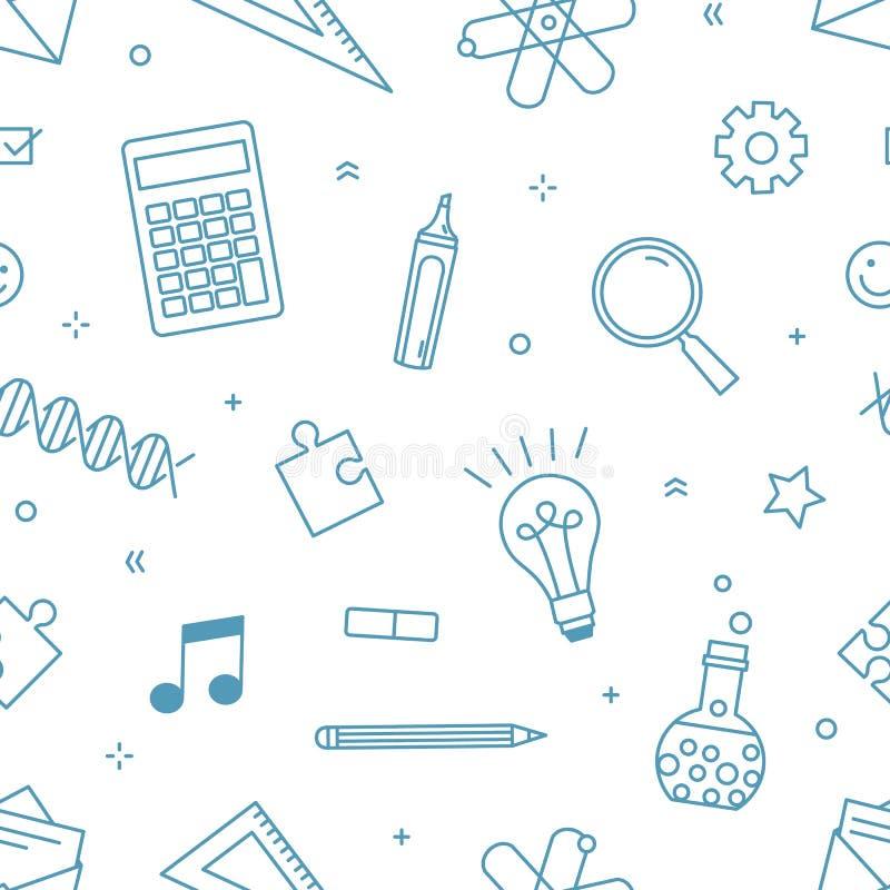 Σύγχρονο άνευ ραφής σχέδιο με τις προμήθειες το σχολείο, το κολλέγιο ή την πανεπιστημιακές εκπαίδευση και τη επιστημονική έρευνα  ελεύθερη απεικόνιση δικαιώματος