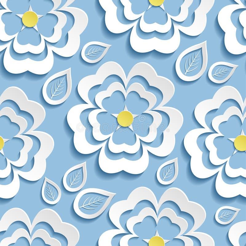 Σύγχρονο άνευ ραφής σχέδιο με το τρισδιάστατα sakura και τα φύλλα λουλουδιών διανυσματική απεικόνιση